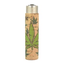 Clipper Lighter - Green Leafs Cork Cover