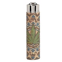 Clipper Lighter - Cork Leaves Light Blue