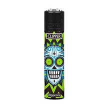 Clipper Lighter - Green Skulls